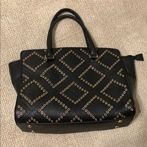 Charming Charlie Black Satchel with Gold Accents
